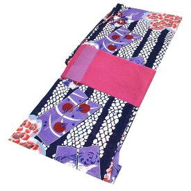 ■レディース 浴衣 2点 セット フリーサイズ 変わり縞に桜と朝顔(紺色地) ピンク色×薄紫色のリバーシブル帯 [y2998] ゆかた 変わり織 コーディネート 帯