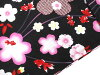 ■Reversible obi [y3005] yukata fancy weaving coordinates zone of the cherry tree (black place) red X black of the lady's yukata two points set adjustable size fawn