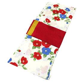 ■レディース 浴衣 2点 セット フリーサイズ 青色の椿と白菊(クリーム色地) 赤色×黄色のリバーシブル帯 [y3008] ゆかた 変わり織 コーディネート 帯