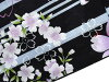 ■It is a reversible obi [y3037] yukata fancy weaving coordinates zone of the cherry tree (black place) purple X heliotrope in lady's yukata two points set adjustable size vertical stripes