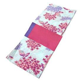 ■レディース 浴衣 2点 セット フリーサイズ 紫色とピンク色の紫陽花(薄緑色地) ピンク色×薄紫色のリバーシブル帯 [y3057] ゆかた 変わり織 コーディネート 帯
