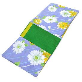 ■レディース 浴衣 2点 セット フリーサイズ 斜め縞にマーガレット(薄紫色地) 緑色×黄色のリバーシブル帯 [y3059] ゆかた 変わり織 コーディネート 帯