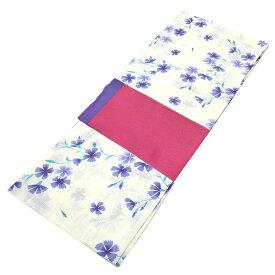 ■レディース 浴衣 2点 セット フリーサイズ 青紫の芝桜(生成り色地) 桃色×紫色のリバーシブル帯 [y3077] ゆかた 変わり織 コーディネート 帯 【RCP】