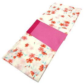 ■レディース 浴衣 2点 セット フリーサイズ 緋色の芝桜(生成り色地) ピンク色×赤色のリバーシブル帯 [y3110] ゆかた 変わり織 コーディネート 帯