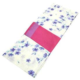 ■レディース 浴衣 2点 セット フリーサイズ 青紫の芝桜(生成り色地) 桃色×紫色のリバーシブル帯 [y3112] ゆかた 変わり織 コーディネート 帯
