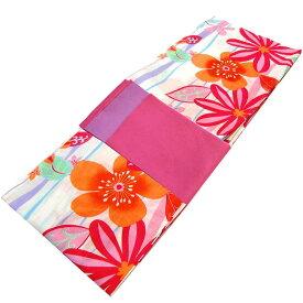 ■レディース 浴衣 2点 セット フリーサイズ 揺れ縞にモダンな花(ホワイト色地) ピンク色×薄紫色のリバーシブル帯 [y3131] ゆかた 変わり織 コーディネート 帯