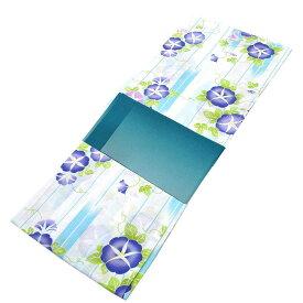 ■レディース 浴衣 2点 セット フリーサイズ かすれ矢絣に紫色の朝顔(ホワイト地) 青緑色のぼかし帯 [y3157] ゆかた 変わり織 コーディネート 帯