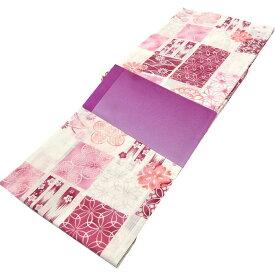 ■レディース 浴衣 2点 セット フリーサイズ ピンクの七宝や水玉の変わり市松の柄(アイボリー色地) 薄紫色のぼかし帯 [y3187] ゆかた 変わり織 コーディネート 帯