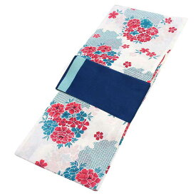 ■レディース 浴衣 2点 セット フリーサイズ 鹿の子の雪輪と桜(ホワイト地) 紺色×サックス色のリバーシブル帯 [y3271] ゆかた コーディネート 帯