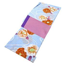 ■レディース 浴衣 2点 セット フリーサイズ 流水にオレンジの牡丹(薄水色地) 桃色×薄紫色のリバーシブル帯 [y3278] ゆかた コーディネート 帯