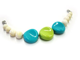 ★ Acrylic beads haori strings ★ white marble with green and sky blue acrylic-cute and easy ♪ trees Association