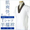 ■高級 天竺 綿使用 半襦袢 Tシャツ半襦袢 M L LL サイズ 全5色 白 茶 黒 紺 グレー Tシャツタイプ 半衿 掛け衿 付け…