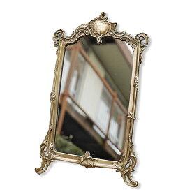 スタンドミラー 卓上ミラー アンティーク調 真鍮 ブラス【送料無料】卓上鏡 スタンドミラー アンティーク ゴールド ミラー おしゃれ 雑貨 輸入雑貨 おしゃれ 雑貨 アンティーク調 ヨーロピアン おしゃれ