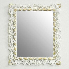 イタリア製 鏡 ミラー スクエア 四角 ホワイト アイボリー 壁掛け【送料無料】鏡 壁掛け おしゃれ 壁掛け 鏡 アンティーク 鏡 姿見 壁掛け 軽量 ロココ 北欧 イサス ユーロマルキ EUROMARCHI