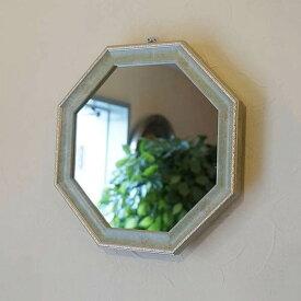 ヴィンテージ 八角ミラー グリーン Mサイズ Mirror(壁掛け&卓上鏡)八角形 鏡 玄関 鏡 八角形 八角鏡 ミラー アンティーク ミラー 壁掛け おしゃれ 壁掛け ミラー 八角 八角ミラー 八角 鏡 木製 八角形 鏡 玄関 鏡 八角