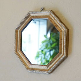 ヴィンテージ 八角ミラー ゴールド Mサイズ Mirror(壁掛け&卓上鏡)八角形 鏡 玄関 鏡 八角形 八角鏡 ミラー アンティーク ミラー 壁掛け おしゃれ 壁掛け ミラー 八角 八角ミラー 八角 鏡 木製 八角形 鏡 玄関 鏡 八角