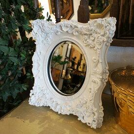 ホワイトデコラミラー 鏡 卓上ミラー【送料無料】卓上ミラーは使うほどにアンティーク感が出てきて素敵に 卓上ミラーはテーブルミラー・卓上鏡・置き鏡ともいい、デザインはロココ調からクラシック調など