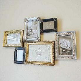 ファミリー 6窓 フォトフレーム 壁掛け 多面 (写真立て)スタンド付き ゴールドミックス色インテリア 雑貨 おしゃれ 雑貨 イタリア雑貨 アートフレーム テーブル ミラー アンティーク 雑貨 壁掛け おしゃれ アンティーク 木製 複数 2l