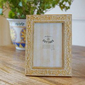 フォトフレーム 写真立て IV ネオクラシック ゴールド インテリア雑貨 壁掛け可 卓上 おしゃれ かわいい L判 L版 ナチュラル 北欧 フォトスタンド 結婚 赤ちゃん 結婚祝い 出産祝い ウェディング ブライダル