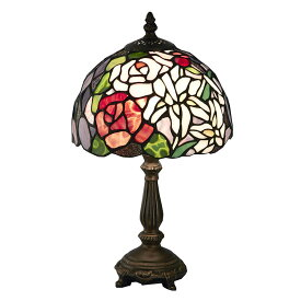 ステンドグラス ランプ スタンド 薔薇と百合 ES-016【送料無料】LED球使用可 ステンド ランプ テーブルランプ ランプシェード ステンドグラス 人気 おしゃれ 雑貨 ヨーロピアン アンティーク風 インポート 照明器具