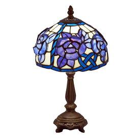 ステンドグラス ランプ スタンド 立体の薔薇 ブルー ES-073【送料無料】LED球使用可 ステンド ランプ テーブルランプ ランプシェード ステンドグラス 人気 おしゃれ 雑貨 ヨーロピアン アンティーク風 インポート 照明器具