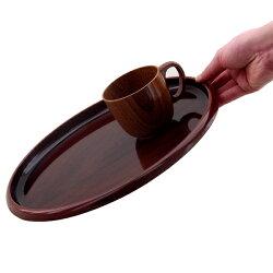 30cm丸盆黒壇木目塗りすべり止め加工(ノンスリップ加工)