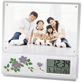 電波時計&写真立て 蒔絵 鉄線  フォトフレーム 目覚まし時計 温度計 アラーム おしゃれ かわいい プレゼント ギフト