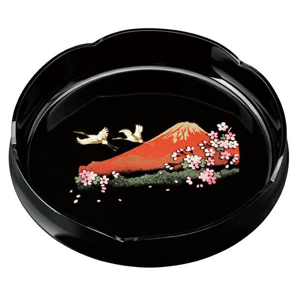 菓子鉢 梅型 黒 一富士二鶴三桜 24cm