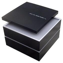 重箱2段仕切り購入可能ボーノブラックシール蓋付