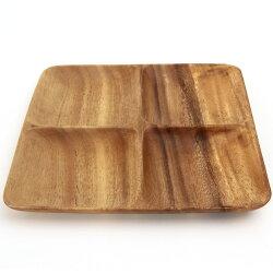 アカシア食器木製スクエアトレー4仕切り付
