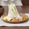 アカシア食器木製ラウンドトレー仕切り付