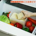 【米びつ】冷蔵庫野菜室に入る米びつ 角型計量カップ付 密閉容器