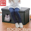 キャットハウス ペットハウス スツール ワイドサイズ 【 YP19-PH60BK 】 収納スツール 室内 椅子 ベンチ ペット ハウス ベッド 折りたたみ 折り畳み 猫 犬 うさぎ 二人掛け 2人掛けペット用品 おしゃれ 送料無料