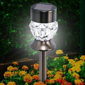 ソーラーライト 屋外 明るい 2WAY 直置き 置き型 スティック 【 DS-171BR 】 ダイヤモンドカット キャンドル ホワイト 埋め込み 卓上ライト ソーラー ライト ガーデンライト LED センサー