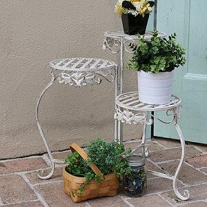 ホワイトアイアンフラワースタンド 丸型 フラワー スタンド フラワースタンド ガーデン ガーデニング ツール ラック エクステリア フレンチ カントリー