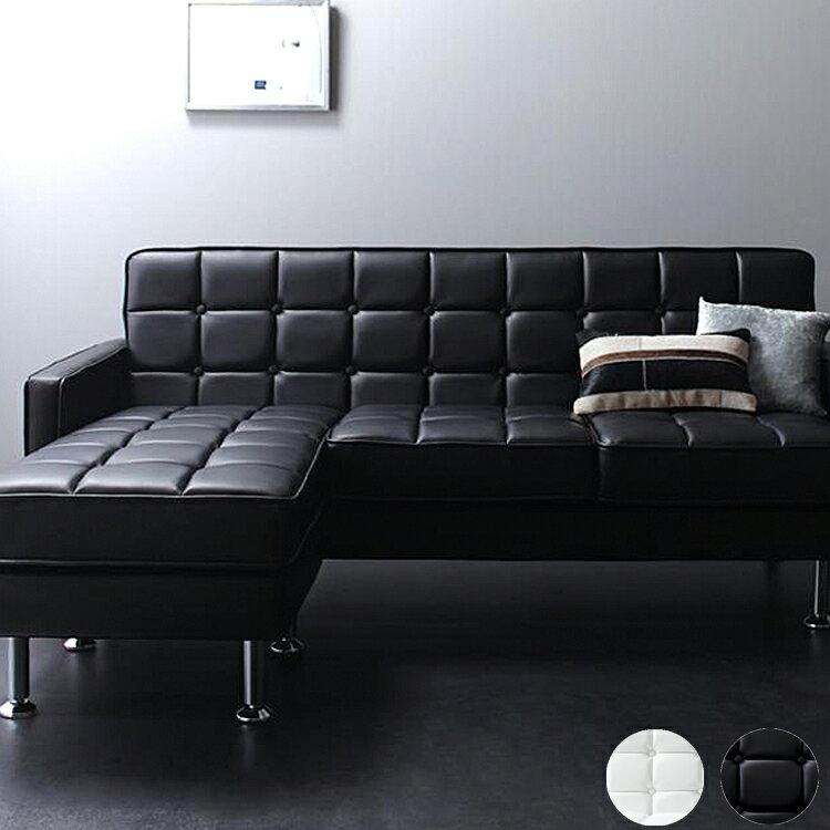 カウチソファー MAXWELL(マクスウェル) ブラック 黒 ホワイト 白 革 PVC 合皮 ソファ sofa カウチ カウチソファ couch コーナーソファ ワンルーム マンション 一戸建て 新婚 3人 4人 2人 新婚 ナチュラル 新生活