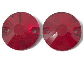 No.6303 手芸用 ビジュー パーツ ソーオン ストーン(ガラス ビーズ ラインストーン)赤 レッド 円形 ラウンド 1.8cm×1.8cm_11個入り
