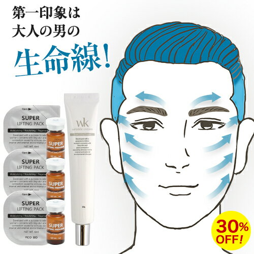 メンズコスメ メンズ化粧品 <スーパーリフティングプログラム3回+ リンクルクリーム1本 セット>男の身だしなみ 塗るマスク