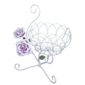 アイアンローズ ローズホルダー I-RO[ガーデニング おしゃれなフラワースタンド ホワイトアイアンの鉢植えの台・花台 鉢を置くアイアンのスタンド 玄関先や屋外に置くガーデニング用品]