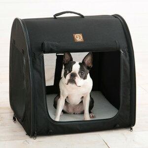 ポータブル・ケージ シングル オールブラック PTOF210901[小型犬や猫にぴったりのキャリーケース(キャリーバッグ) ペットの通院や移動に便利な人気のケージ(犬・ねこ)]