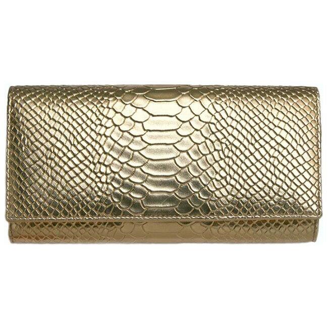 黄金色の蛇柄 金運如意財布[パイソン柄のロングウォレット 風水や金運など縁起がいい蛇柄と金色(ゴールド)の長財布]【ポイント10倍】【即納】