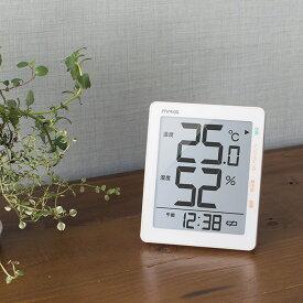 ノア精密 MAG デジタル温度湿度計 TH-105[置き 壁掛け 温湿度計 デジタル 温度計 湿度計 室温 湿度 温度 時計 デジタル時計 ホワイト 白]【即納】