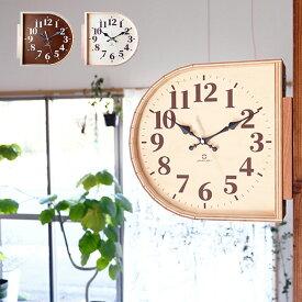 両面時計 D YK20-102[時計 掛け時計 掛時計 ダブルフェイス 北欧 おしゃれ 木製 木 かわいい 個性的 両面 シンプル モダン 壁掛け時計 部屋 クロック インテリア リビング 子供部屋 日本製 国産 カフェ風 ナチュラル ブラウン ヤマト工芸] 即納