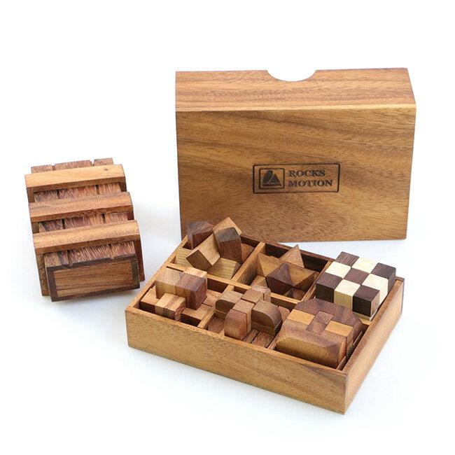 ロックスモーション ウッドパズルセット 6+1[右脳を鍛える立体パズル こどもの知育にもおすすめの木製のパズル 木製ボックスに収納できる立体の知育玩具 大人にも人気の知育パズル]