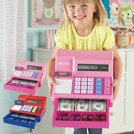 電卓式レジ 米ドル付き[お店屋さんのレジのままごとができる 3歳からのお店屋さんごっこ お買い物ごっこのレジ遊びにおもちゃのお金・ドルや硬貨が入った知育玩具のレジスター]