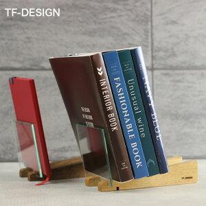 TF-DESIGN ブックスタンド スロープ[卓上 本立て 斜め 本棚 ラック 小さい ブックラック 木製 木 ガラス 透明 おしゃれ ブックエンド インテリア]