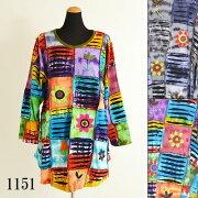 エスニックチュニックレディースドルマンスリーブエスニックファッションレディースフリーサイズ0693BC1151