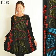 パッチワークチュニックエスニックチュニック刺繡チュニックワンピースエスニックファッションレディースフリーサイズ1107BC1203