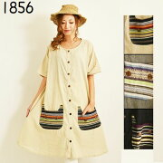 エスニックブラウスワンピースケレ織りネコポケットネパールファッションレディースフリーサイズ1578BC