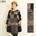 エスニック チュニック ワンピース 長袖 パッチワーク レディース ファッション フリーサイズ ネパール アジアン 2352BC1894